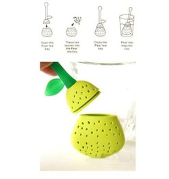 Té de pera online-Infusor de té de silicona reutilizable filtro de té en forma de pera filtro de bolsa de té creativo para infusor de hierba de hoja suelta