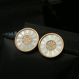 Wholesale Numbers Digital - Rome digital center circular titanium shell agate inlaid stone earrings, fashion jewelry wholesale trade titanium earrings