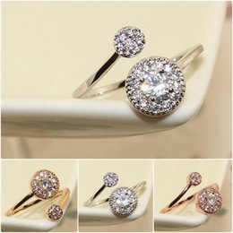 Wholesale diamond black stone ring - Rose Gold Plated Fashion Design Twin Zircon simulated Diamond Engagement Rings for Woman