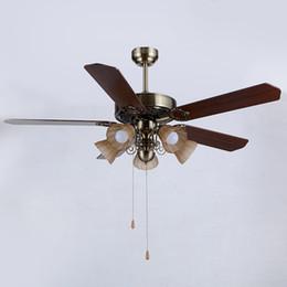 Wholesale Fan Energy Saving - Retro European American style LED ceiling fans lights 52 inches 132 cm 5 wooden blades leaves mute energy-saving led ceiling fan lighting