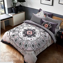 Wholesale Wholesale King Bedding - Cotton Mandala Style Geometric Bedlinens Sanding Cotton Fabric Queen King size Duvet Cover Set 4pcs Bedding Set