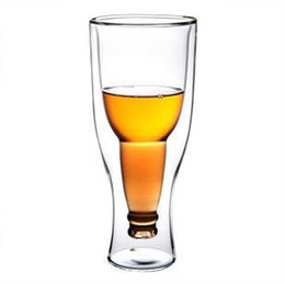 Wholesale Hopside Down Beer Glass Wholesale - Wholesale- Free shipping 50pcs lot Creative Beer Cup Durable Double Wall Glass Hopside Down Wholesale