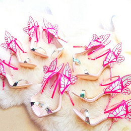 Wholesale Colorful Vampire - N197 Sexy Jc Vampire Diaries Actress Colorful Butterfly Sandals Woman Party Wedding Shoes Fashion Women Solid Butterfly High Heels