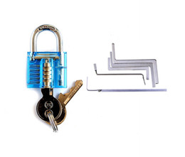 Wholesale Mini Padlocks - Locksmith Professional Tools Set Blue Mini Transparent Pick Padlock+5pcs Locksmith WrenchTension Tool Locksmith Supply