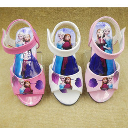 Wholesale Pink Sandals For Toddler - FROZEN Children's Shoes Whith Box Anna and Elsa Toddler Girls' Pu Sandals Girls PINK Sandal Shoes Various Size Dress Shoes for Kids
