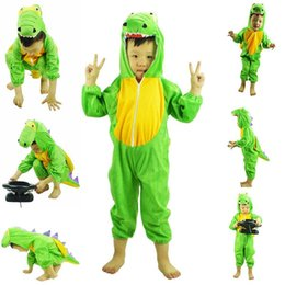 Wholesale Pajamas Teenage - 1 pc Kids Animals Cosplay Green Dinosaur Onesie Pajamas Cartoon Children Cosplay Costumes Kid Clothes children Dinosaur sleepwear Jumpsuit