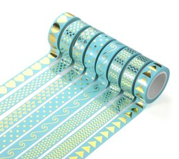 Wholesale Gummed Tape Wholesale - Wholesale- 2016 26 Styles Gilding Decorative Washi Tape Gummed Tape Sticky Paper Masking Adhesive Tapes Scrapbook Planner Notebook Decorat