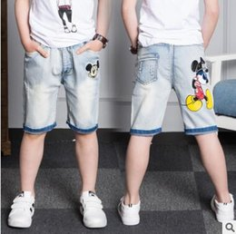 Wholesale Pants Boys Big - Cartoon Mickey Mouse Ripped Jeans Shorts for Boy Summer Applique Mickey Denim Kids Boys Jeans Trousers Pants Big Boys Pants Kids Clothing