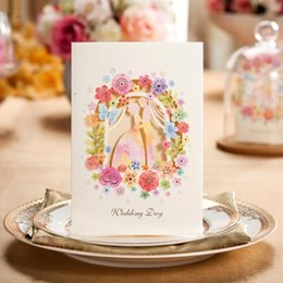 Wholesale Elegant Floral Cut Wedding Invitations - Wholesale- Wedding Invitation Elegant Laser Cut White Paper Card Wedding Decoration Lover Flower Floral Party Wedding Invitation cw5066