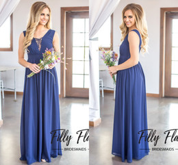 Wholesale Sleeveless Chiffon Long Asymmetrical Dress - 2017 Dark Navy Country Style Bridesmaid Dresses A Line Chiffon Lace Maid Of Honor Asymmetrical Wedding Guests Gowns Bridesmaid Group Dress