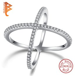 Wholesale Cross Ring Set - BELAWANG Fashion Double Cross Ring 100% Genuine 925 Sterling Silver Finger Ring Filled White Crystal Stone Rings For Women Wedding