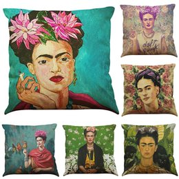 Wholesale Office Case - Frida Kahlo Pattern Linen Cushion Cover Home Office Sofa Square Pillow Case Decorative Cushion Covers Pillowcases Without Insert(18*18Inch)