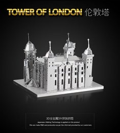 Wholesale Tower London 3d Puzzle - Tower of london 3D PUZZLE Metal assembling model DIY Chinese METAL EARTH Souptoys NEW 2 SHEETS like fascinations gifts