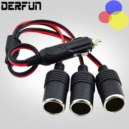 Wholesale lighter adapter plug - NEW Car Cigarette Lighter 12V 24V Power Charger Adapter 1 to 3 Way Socket Splitter Female Socket Plug Connector Adapter