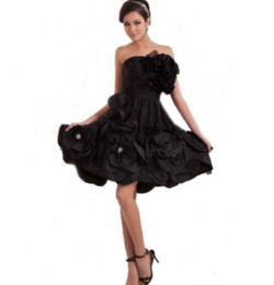 Black Flowers Ruffled Império Zipper up Voltar A Linha Strapless Sweetheart Curto / Mini Tafetá Cocktail Party Dress de