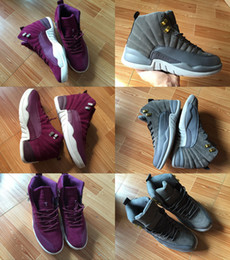 Wholesale Mens Games - With Box 2018 Mens and Womens 12S Basketball Shoes Sneakers for Men Taxi Playoff High OVO White Dark Grey Bordeaux Flu Game US10