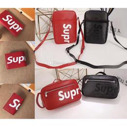 Wholesale Camping Handbags - 2017 Brand Supreme Womens Single shoulder bag Real Leather For Mens wallet Card package Supremes Women handbag Red Black messenger Bag