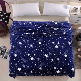 Wholesale High Sofas - free shipping Bright stars bedspread blanket 200x230cm High Density Super Soft Flannel Blanket to on for the sofa Bed Car Portable Plaids