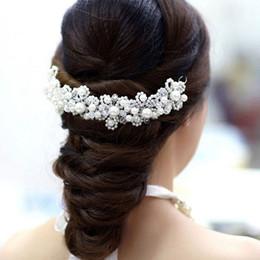 Wholesale Hair Barrette Crystal Handmade - Bridal Hair Jewelry Romantic Hair White Pearl Crystal Bride Headdress Handmade Wedding Dress Accessories Free Shipping
