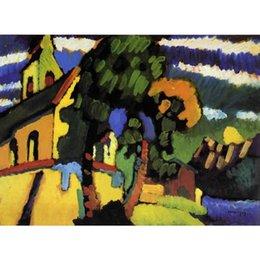 2019 telai di pittura a olio del villaggio Moderna arte astratta Wassily Kandinsky dipinti ad olio su tela Riegsee. Decorazioni da parete dipinte a mano del Village Church telai di pittura a olio del villaggio economici