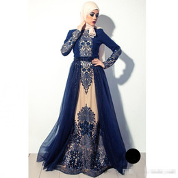 Wholesale One Piece Bridal Gown - 2017 High Quality Navy Blue Lace Muslim Prom Evening Dress In Dubai Arabia Long Sleeves Plus Size Formal Mother Of Bridal Party Gowns
