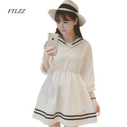 Wholesale Fresh Piece - Wholesale- School wear HARAJUKU sailor collar summer sailor suit chiffon one-piece dress female preppy style fresh short dress