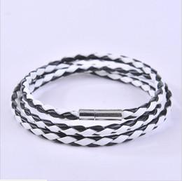 Wholesale Wrap Mesh Bracelet - Free shipping Bangle Bracelets Mesh Leather Magnetic Stainless steel Clasp Double Wrap Wristband Beautiful Titanium Bracelet for men