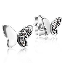 Wholesale Amethyst Pearls - 925 Sterling Silver Solid Authentic Butterfly Ear Stud CZ Butterfly Earrings