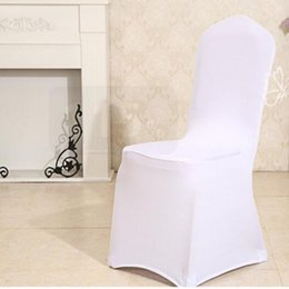 Wholesale Wholesale White Spandex Chair Cover - Universal White Banquet Chair Covers Polyester Spandex Covers Wedding Chair Covers Multicolor for Hotel Weddings Party Decoration DHL Free