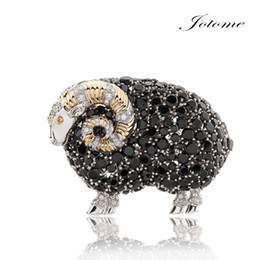 Wholesale Cheap Animal Brooches Pins - 2017 Cheap and high quality Newest Design for Valentine's Day Black sheep rhinestone brooch pin fashion jewelry for men