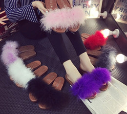 Wholesale Pink Fuzzy - 12 colors sweet candy color summer women real natural feather turkey fur fuzzy slippers slides mules women open toe sandals flat shoes