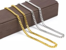 Wholesale Real Hip Hop Chains - men chain link 5mm 30inch 3mm 24inch Real 24K Yellow Gold Rhodium Plated Solid Cuban Curb Chain Mens Necklace Hip Hop Jewelry chain link