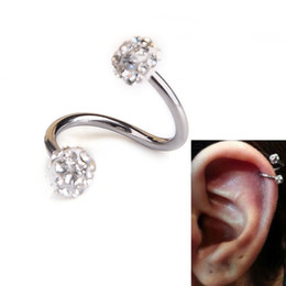 Wholesale Nails Barbells - 10 Pcs Stainless Steel Twist Lip Nose Ring Nail Helix Cartilage Earring Stud Crystal Barbell Piercing Body Jewelry For Women