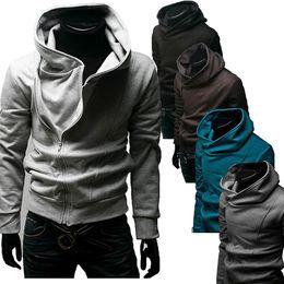 Wholesale Diagonal Zipper Clothes - Wholesale- Winter Plus Size Fashion High Collar Men'S Diagonal Zipper Overcoat Pocket Jacket Coat Hoodies Clothes Pullover Sweatshirts