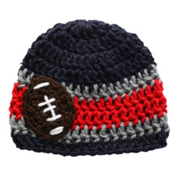 Wholesale Football Photo Prop - Handmade Crochet Baby Boy Girl Striped Football Team Hat Kids Winter Hat Fans Beanie Infant Toddler Photo Prop