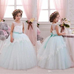 Wholesale Christmas Holiday Images - 2017 Cute Mint White Lace Tulle Flower Girl Dresses Birthday Wedding Party Holiday Bridesmaid Fancy Communion Dresses for Girls BA310