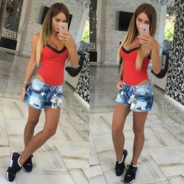Wholesale Super Sexy Deep V Neck - Deep V Neck Cotton Super Sexy Short Bodysuit Night Party Sleeveless Lace Strap Jumpsuit For Women Free Shipping