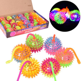 Wholesale Light Up Spiky Balls - Light Up Spiky Stress Balls Bounce LED Flashing Baby Sounding Toys Silicone Sounding Cheer Items Gift fast shipping