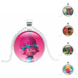 Wholesale Glasses Pattern For Kids - Anime Necklace Trolls Poppy Pattern Glass Anime Choker Long Pendant Necklace for Women Kids