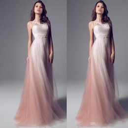 Wholesale Ombre Short Prom Dress - Sheer Neck Strapless Pink Ombre Sheath Prom Dresses Long Floor Length Chiffon Tulle Weddings Party Dresses Formal Evening Dresses Custom