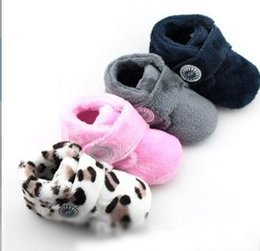 Wholesale Leopard Baby Girl Boots - Winter Children Girls Boys Fashion Solid Leopard Boots Baby Foot Wear Toddler Sofe Warm Snow Boots Prewalker Velvet Shoes B4356