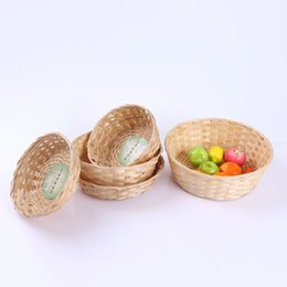 Wholesale Vegetable Storage Baskets - pastoral bamboo bamboo basket creative vegetable fruit basket willow branches woven crafts storage Box Wheat Bread Basket
