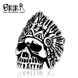 Wholesale E Packet - Dhgate dhgate New Indiana Skull Ring Stainless Steel Punk Exaggerated Jewelry USA Fashion Men's Ring E-packet BR8-213