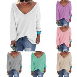 Wholesale Womens Thin Sweaters - Womens Cute Elegant V Neck Loose Casual Knit Sweater Pullover Long Sleeve Spring Sweater Tops sueter mujer