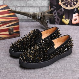 Wholesale Gold Lace Wedding Shoes - Luxury Men and Women Unisex Shoes Red Bottom Sneaker Party Wedding Shoes,Genuine Leather Studded Spikes Low Top Casual Shoes Black Gold