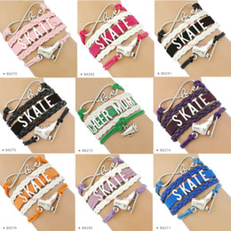 Wholesale Shoes Charm Bracelets Wholesale - (10 pieces  lot) Infinity Love Skate Skating Bracelet Skate Shoes Charm Bracelet Leather Wrap For Sport Custom Any Themes Drop Shipping