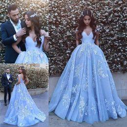Wholesale Chic Wear - Chic Sky Blue Arabic Dubai Prom Evening Dresses 2017 Special Occasion Dress A-Line Off-Shoulder Lace Appliques Long Dresses for Party Wear