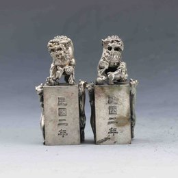 Wholesale Chinese Lion Art - Collection Folk Art Chinese Fengshui Tibetan silve The lion & leopard Statue seal