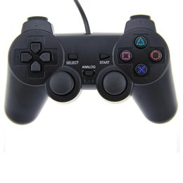 Wholesale Wireless Controller Ps2 Free Shipping - Wired Controller Double Vibration Joystick For PS2 Playstation 2 FREE SHIP