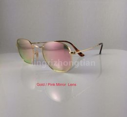Wholesale Clear Sunglasses Uv Protection - High Quality Mens Womens Fashion Hexagonal Metal Sunglasses Irregular Personality Sun Glasses Gold Pink Mirror 51mm Glass Lens UV Protection